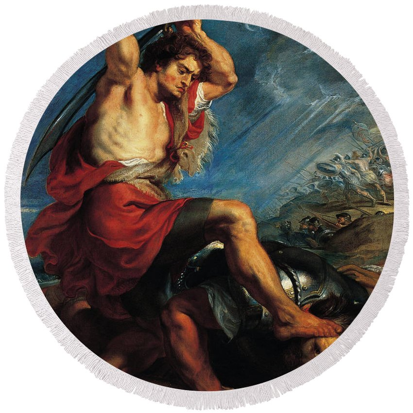Peter Paul Rubens Round Beach Towel featuring the painting David Slaying Goliath by Peter Paul Rubens