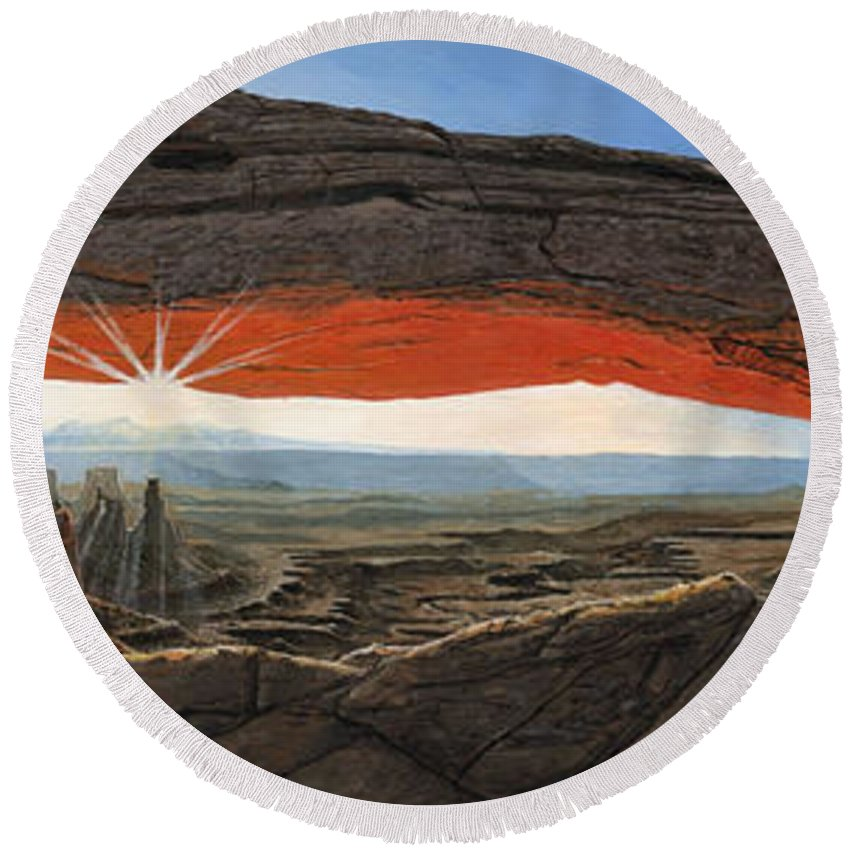 Mesa Arch Round Beach Towel featuring the painting Dawn At Mesa Arch Canyonlands Utah by Richard Harpum