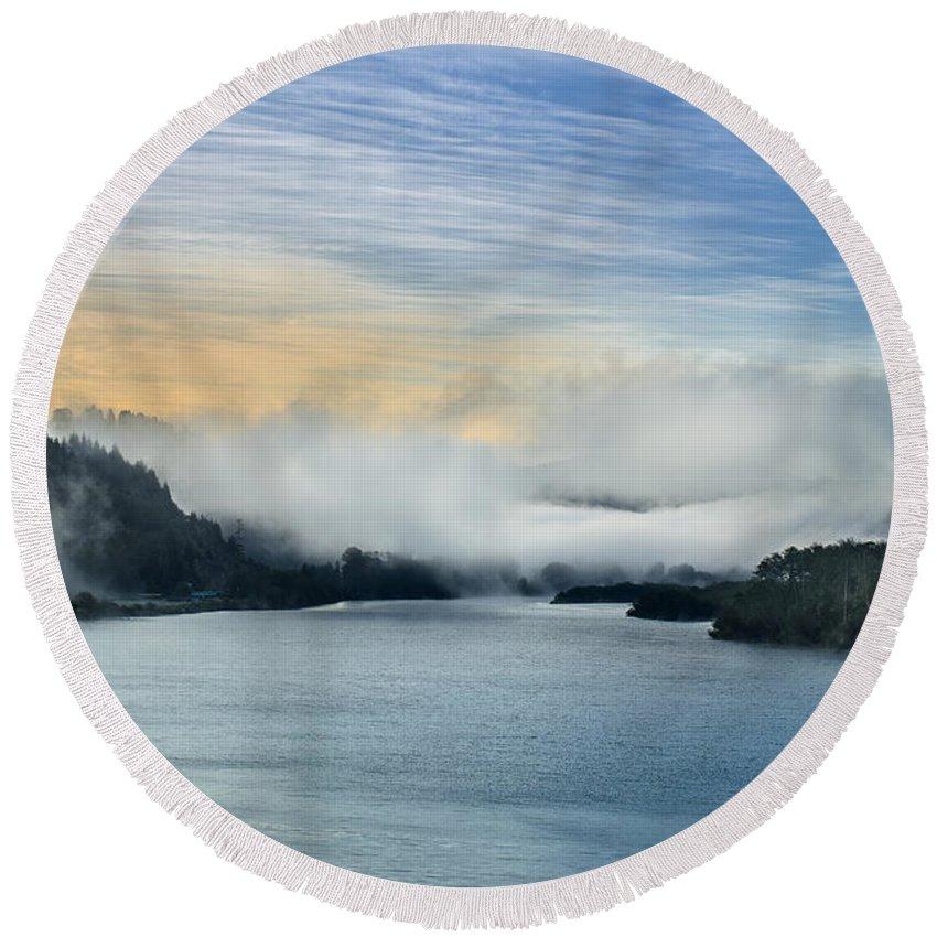 Klamath River Overlook Round Beach Towel featuring the photograph Dawn Fog On Klamath River by Greg Nyquist