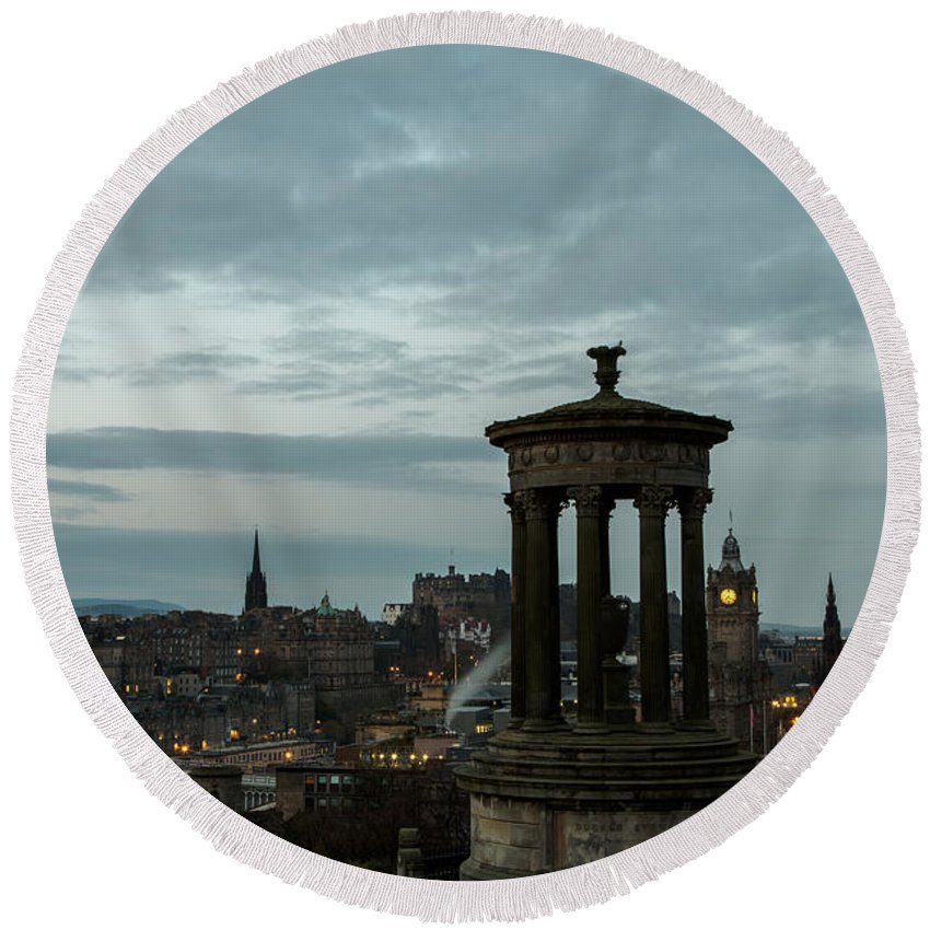Edinburgh Round Beach Towel featuring the photograph Dawn In Edinburgh by John Daly