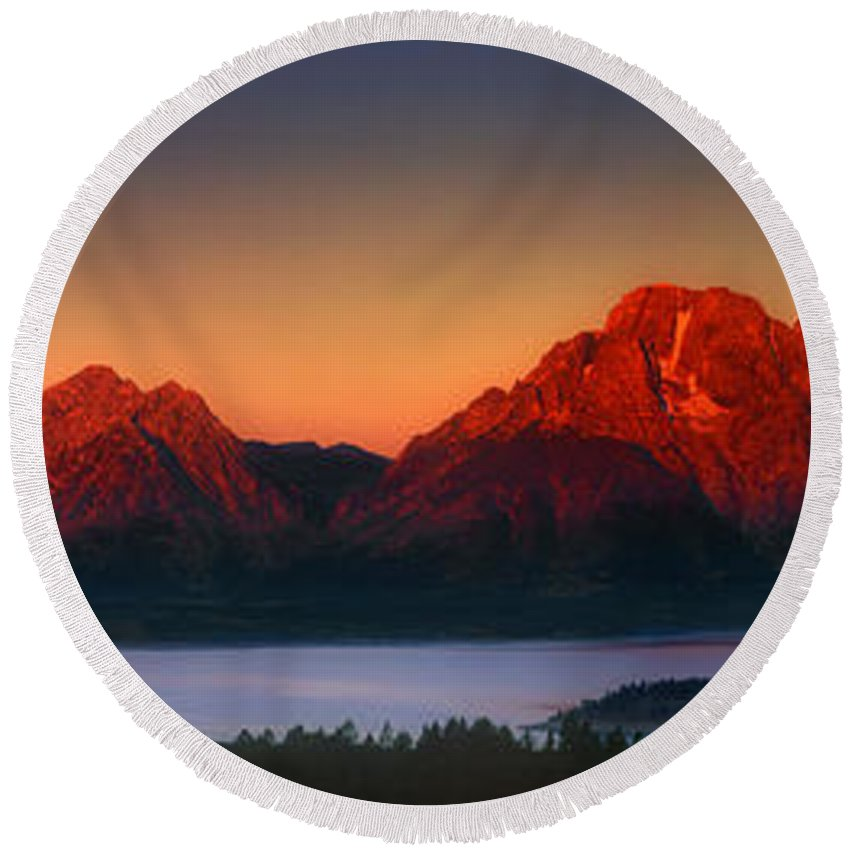 Wyoming Landscape Round Beach Towel featuring the photograph Dawn Light On The Tetons Grant Tetons National Park Wyoming by Dave Welling