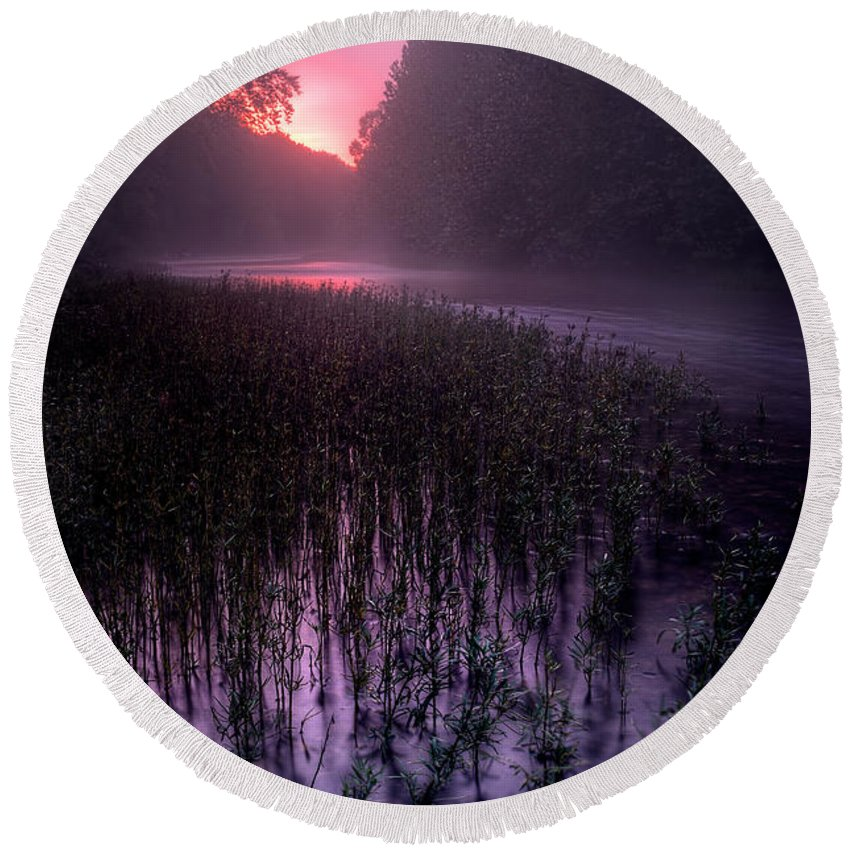 2012 Round Beach Towel featuring the photograph Dawn Mist by Robert Charity