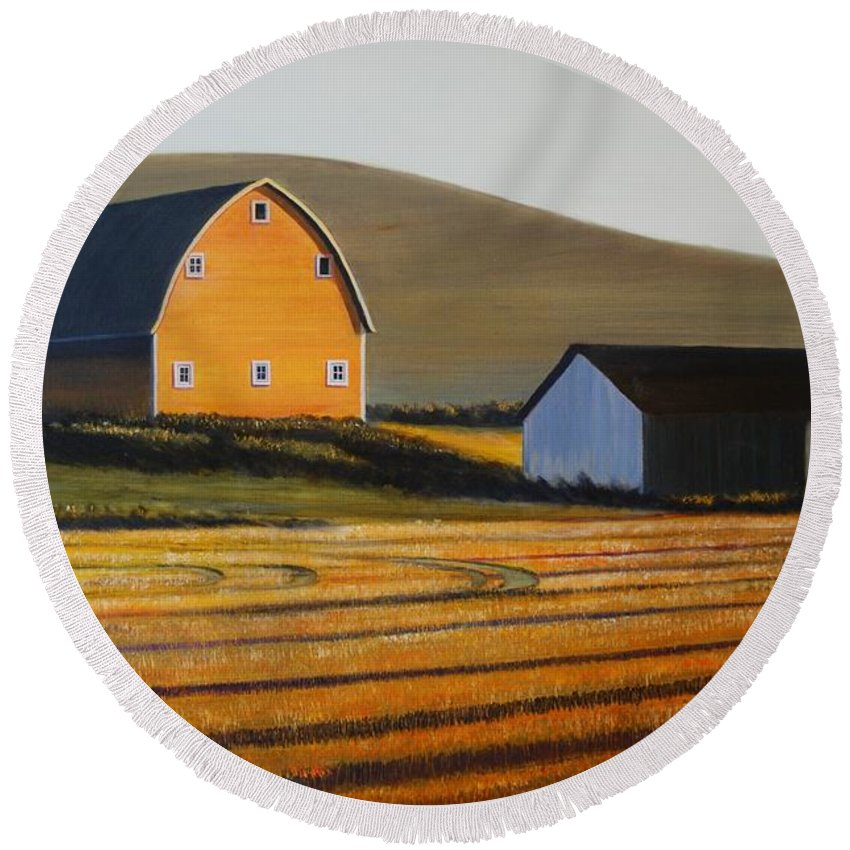 Landscape Round Beach Towel featuring the painting Dawn near Lenville by Leonard Heid