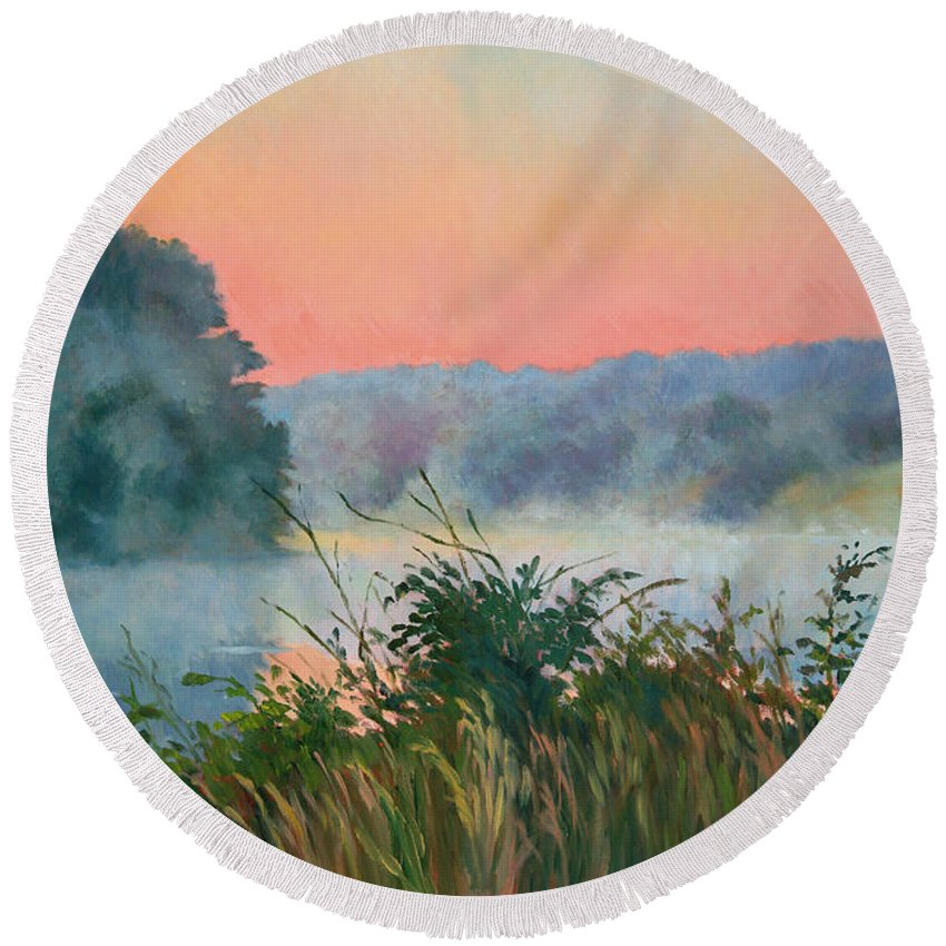 Impressionism Round Beach Towel featuring the painting Dawn Reflection by Keith Burgess