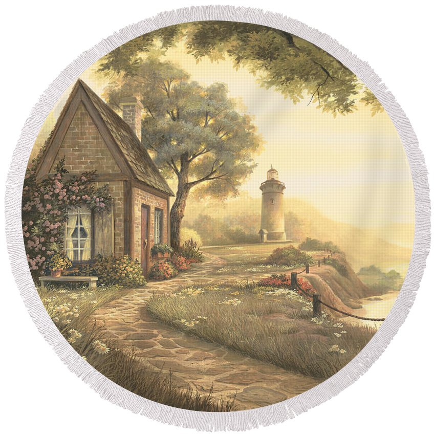 Michael Humphries Round Beach Towel featuring the painting Dawn's Early Light by Michael Humphries