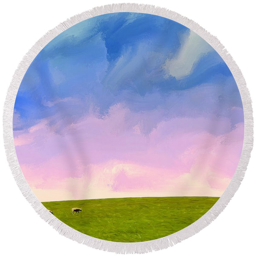 Daybreak Round Beach Towel featuring the painting Daybreak by Dominic Piperata