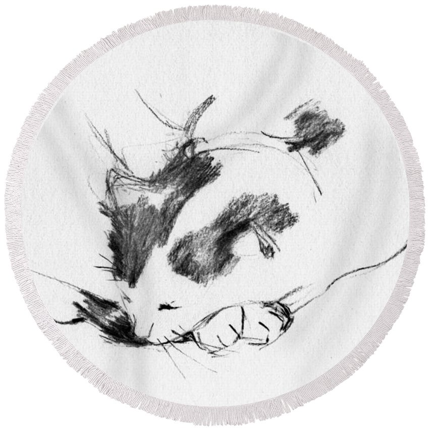 Cat Round Beach Towel featuring the drawing Daydreamer_3 by Karina Plachetka