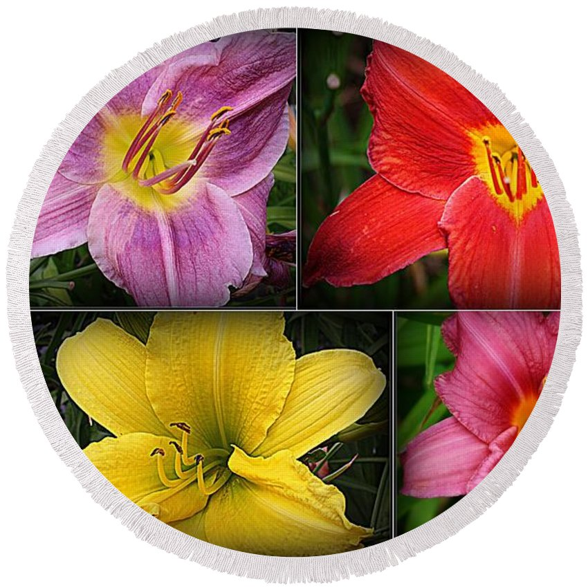 Lilies Round Beach Towel featuring the photograph Daylily Days by Dora Sofia Caputo Photographic Design and Fine Art