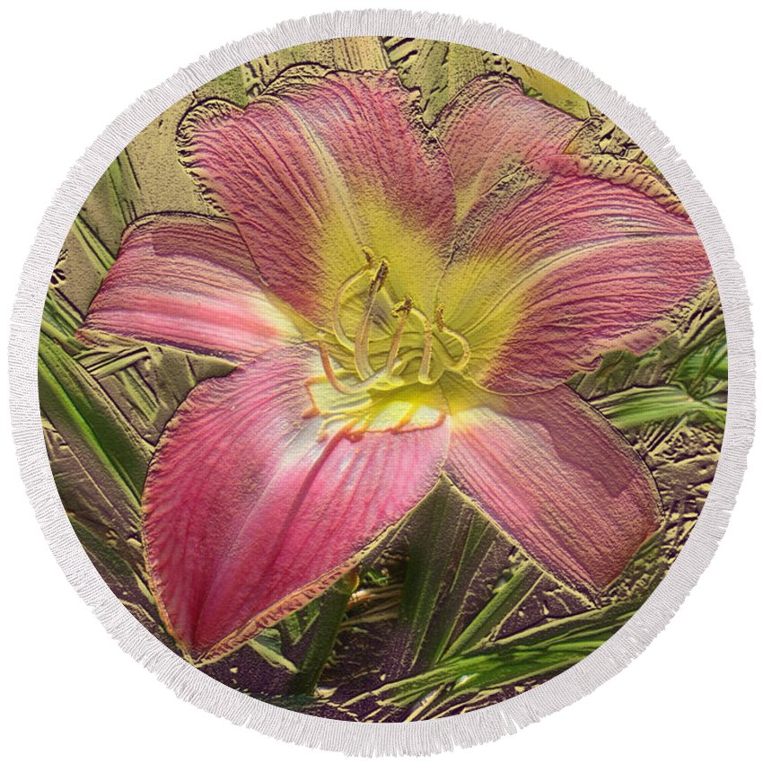 Floral Round Beach Towel featuring the mixed media Daylily In Gold Leaf by Steve Karol