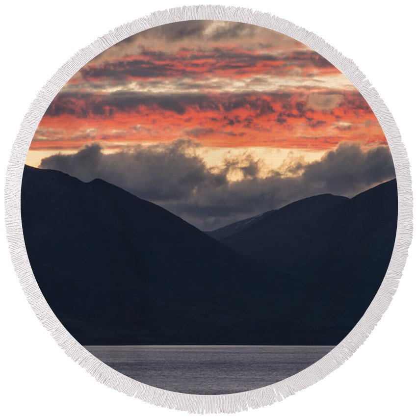 Queenstown New Zealand Lake Wakatipu Lakes Water Mountain Mountains Sunset Sunsets Landscape Landscapes Waterscape Waterscapes Round Beach Towel featuring the photograph Days End On Lake Wakatipu by Bob Phillips