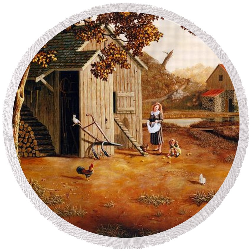 Farm Round Beach Towel featuring the painting Days Of Discovery by Duane R Probus