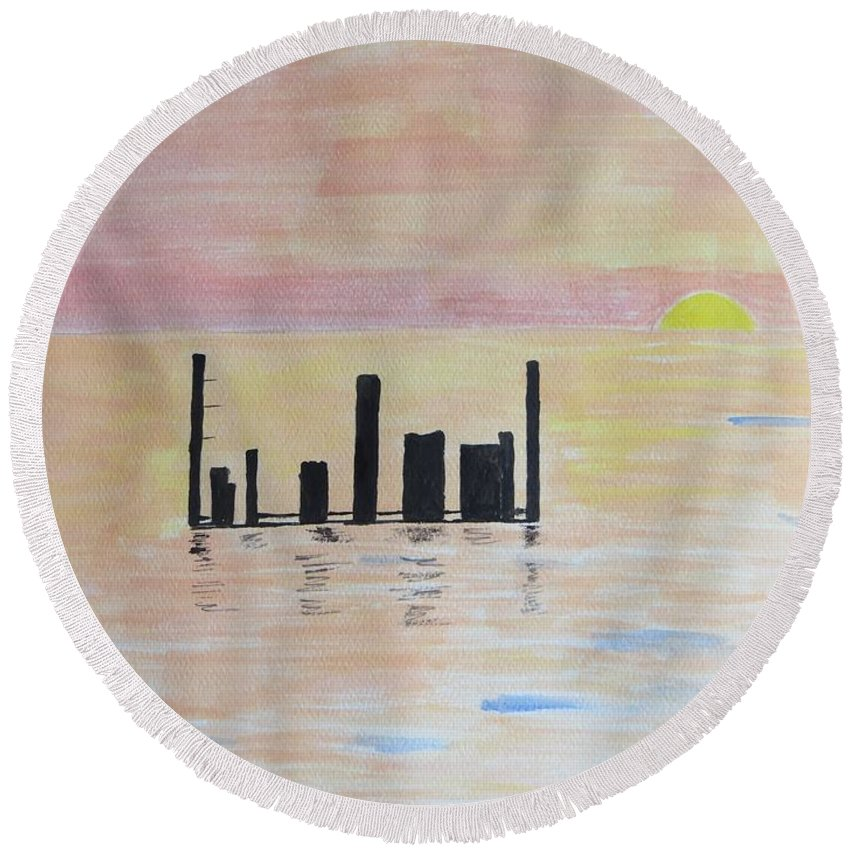 Sunrise Round Beach Towel featuring the painting Dayspring by Sonali Gangane