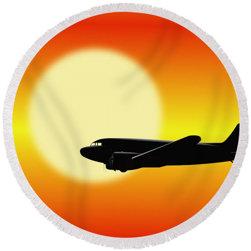 Dakota 3 Round Beach Towel featuring the digital art Dc-3 Passing Sun by Jan Brons