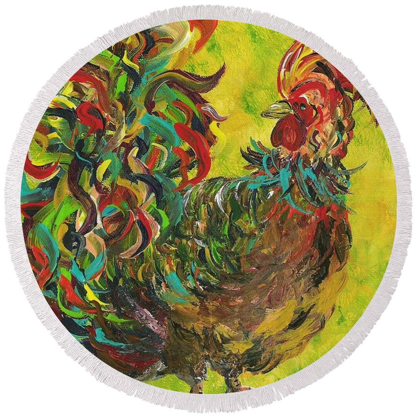 Rooster Round Beach Towel featuring the painting De Colores Rooster #2 by Eloise Schneider Mote