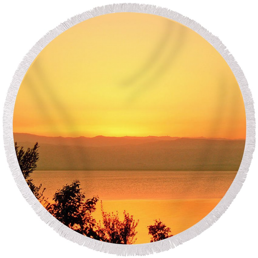Dead Sea Round Beach Towel featuring the photograph Dead Sea Sunset by Conor O'Brien