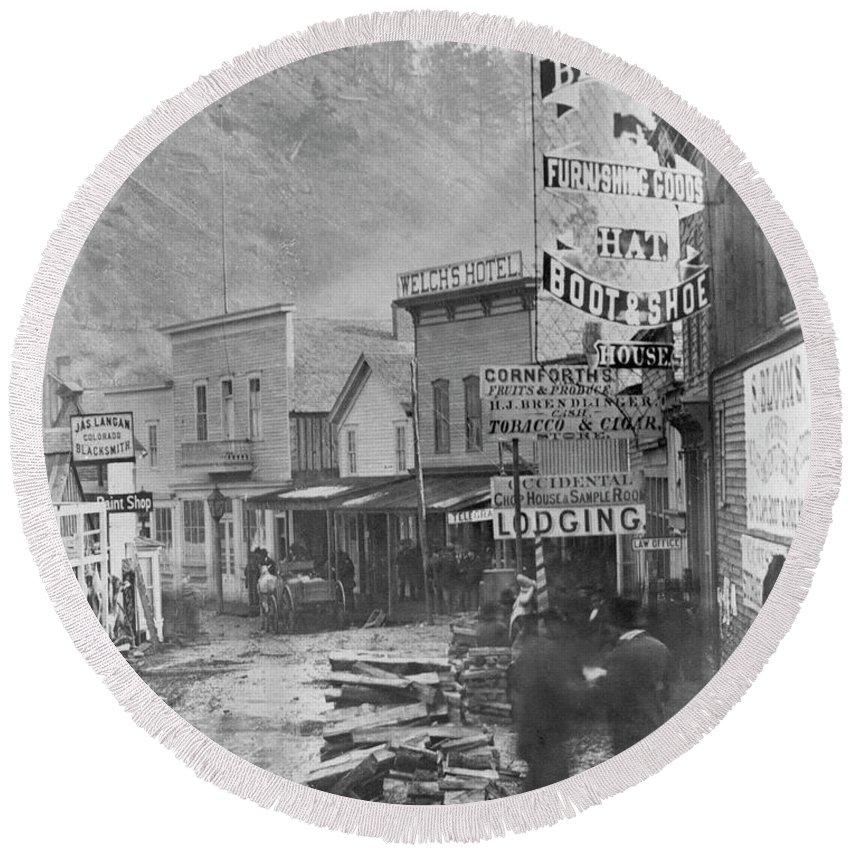 1877 Round Beach Towel featuring the photograph Deadwood, South Dakota by Granger