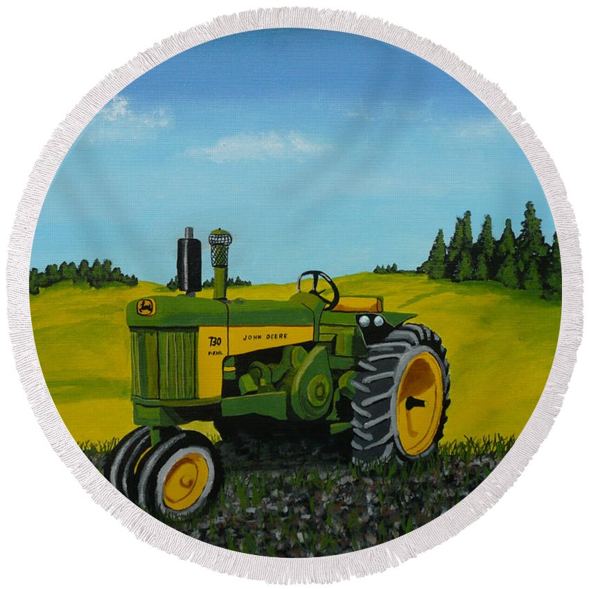John Deere Round Beach Towel featuring the painting Dear John by Anthony Dunphy