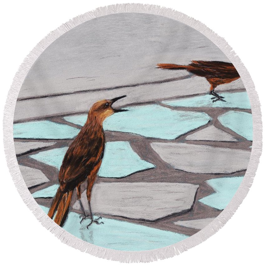 Death Valley Round Beach Towel featuring the painting Death Valley Birds by Anastasiya Malakhova