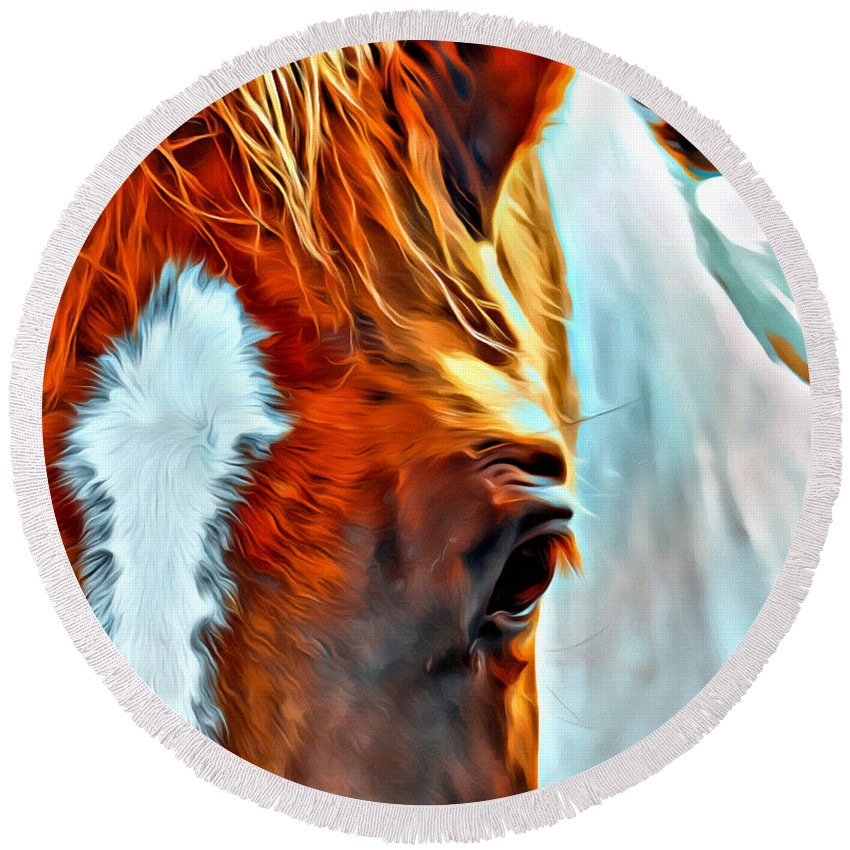 Horse Head Paint Pinto Eye Round Beach Towel featuring the photograph Debbies Paint by Alice Gipson