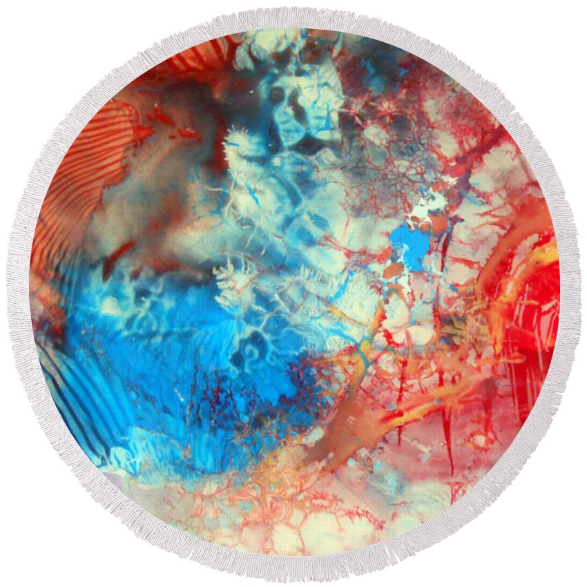 Decalcomaniac Round Beach Towel featuring the painting Decalcomaniac Colorfield Abstraction Without Number by Otto Rapp