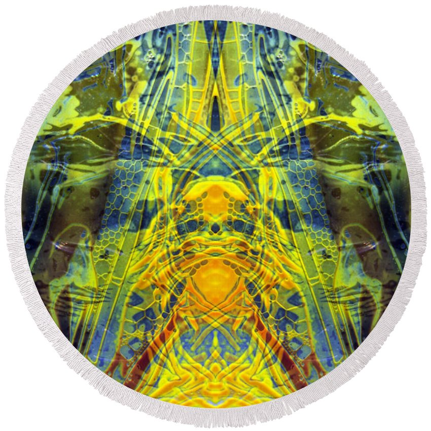 Surrealism Round Beach Towel featuring the digital art Decalcomaniac Intersection 1 by Otto Rapp