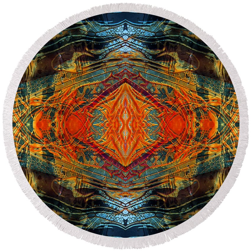 Surrealism Round Beach Towel featuring the digital art Decalcomaniac Intersection 2 by Otto Rapp