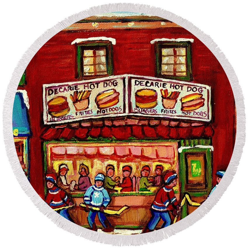 Montreal Round Beach Towel featuring the painting Decarie Hot Dog Restaurant Cosmix Comic Store Montreal Paintings Hockey Art Winter Scenes C Spandau by Carole Spandau