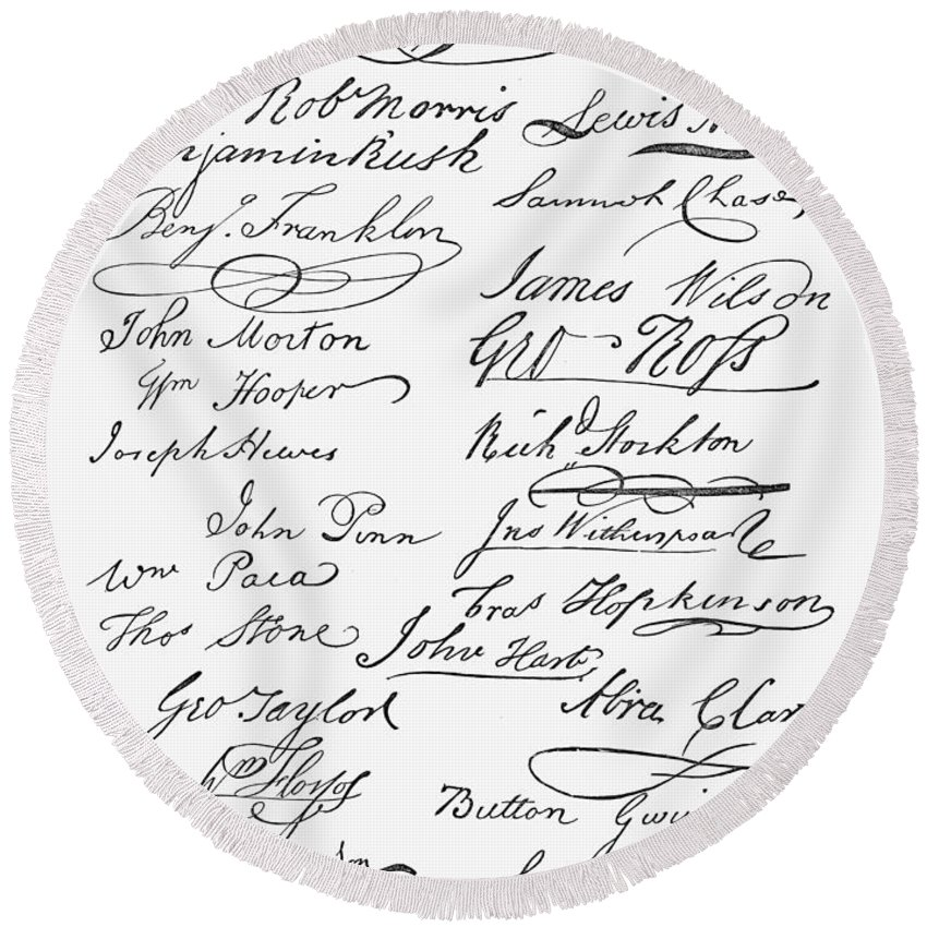 1776 Round Beach Towel featuring the photograph Declaration: Signatures by Granger