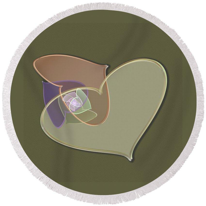 Heart Round Beach Towel featuring the digital art Decorative Heart by Svetlana Nikolova