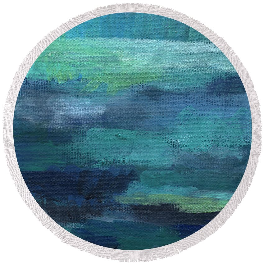 Blue Round Beach Towel featuring the painting Tranquility- abstract painting by Linda Woods