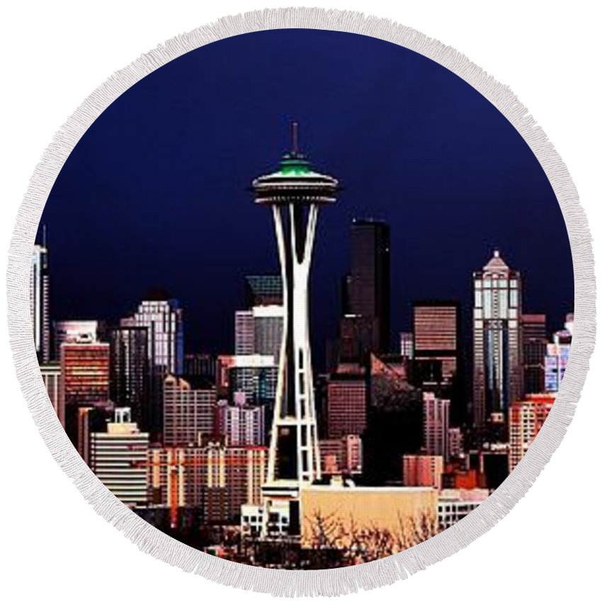 Seattle Round Beach Towel featuring the photograph Deep Blue Sky by Benjamin Yeager