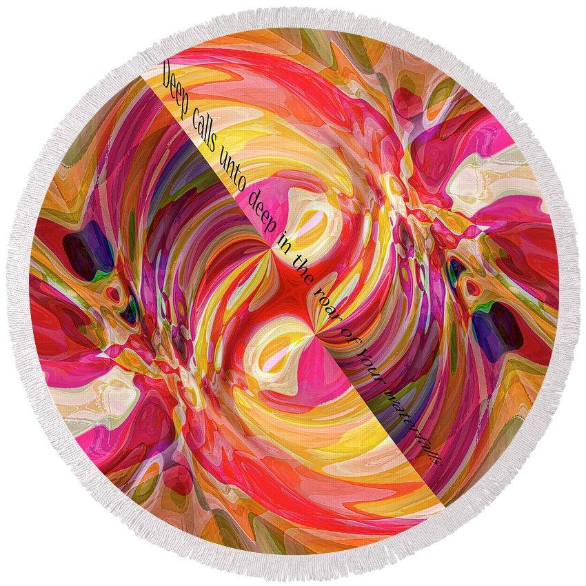 Abstract Round Beach Towel featuring the digital art Deep Calls Unto Deep by Margie Chapman