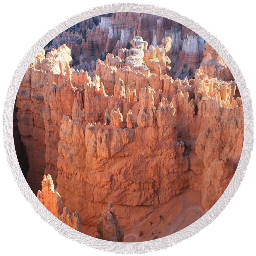 Canyon Round Beach Towel featuring the photograph Deep Canyon - Bryce Np by Christiane Schulze Art And Photography