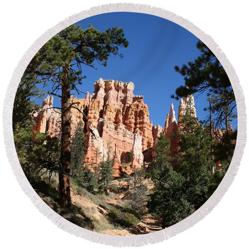 Canyon Round Beach Towel featuring the photograph Deep In The Bryce Canyon by Christiane Schulze Art And Photography