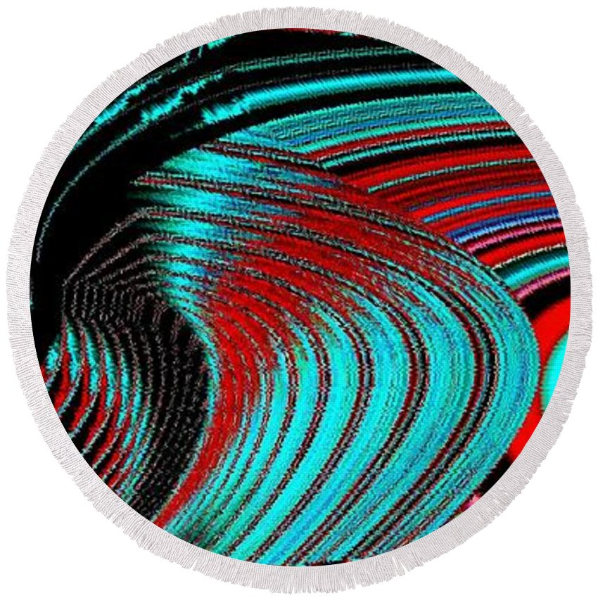 Deep Sea Abstract Round Beach Towel featuring the digital art Deep Sea Abstract by Will Borden