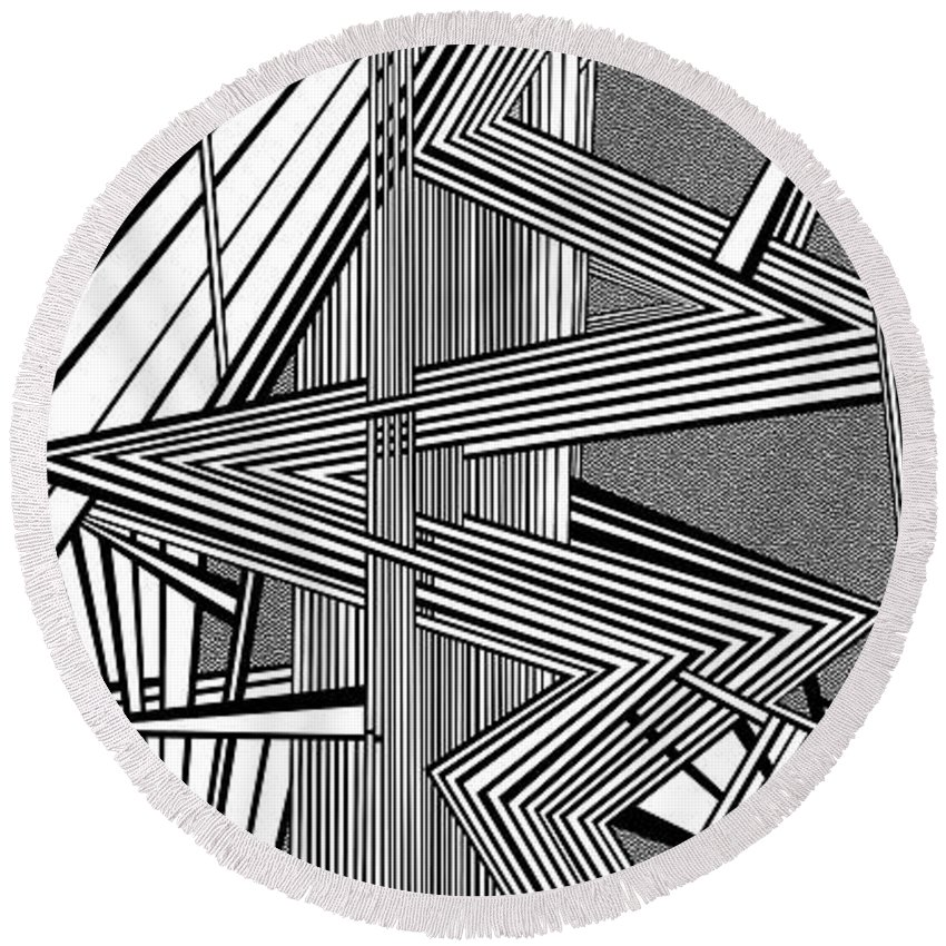 Dynamic Black And White Round Beach Towel featuring the painting Deeper And Deeper by Douglas Christian Larsen