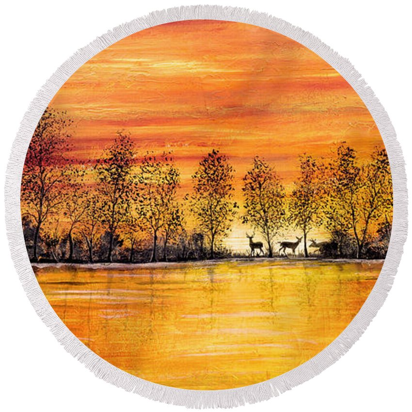Deer Painting Round Beach Towel featuring the painting Deer At Sunset by Jean Plout