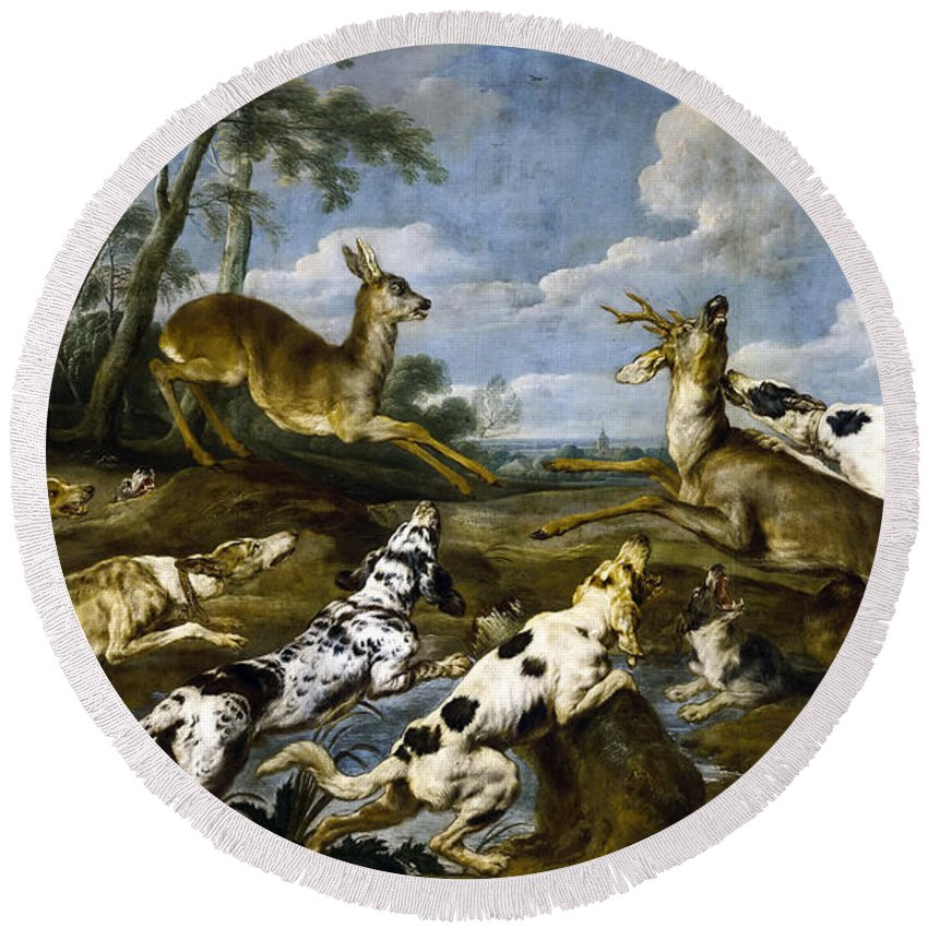 Paul De Vos Round Beach Towel featuring the painting Deer Hunting by Paul de Vos