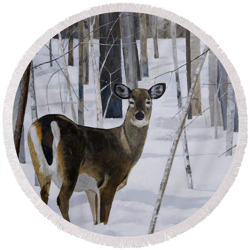 Deer Round Beach Towel featuring the painting Deer In The Snow by Bill Dunkley