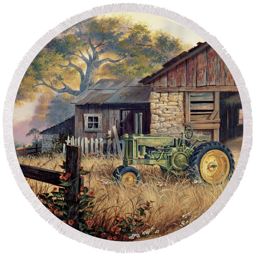 Landscape Round Beach Towel featuring the painting Deere Country by Michael Humphries