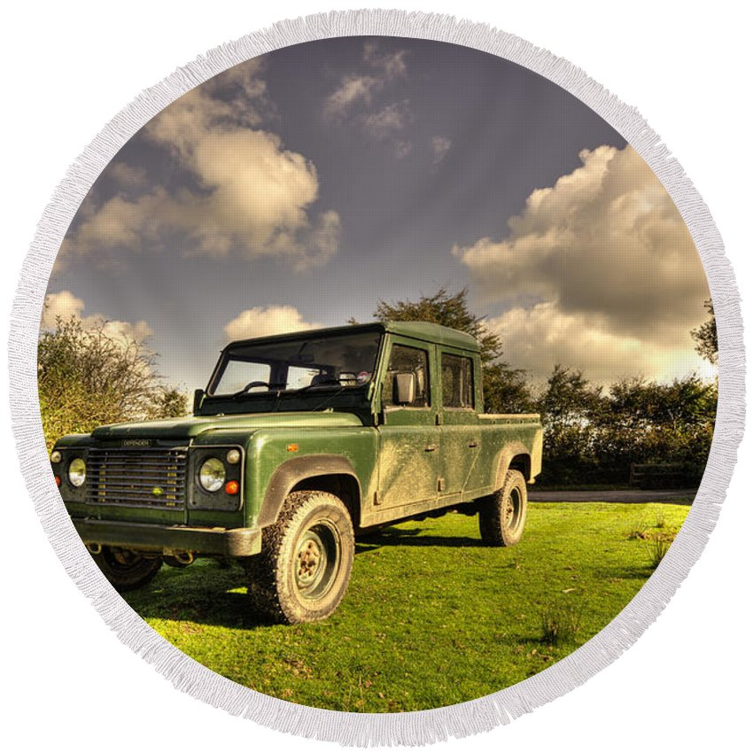 Round Beach Towel featuring the photograph Defender by Rob Hawkins