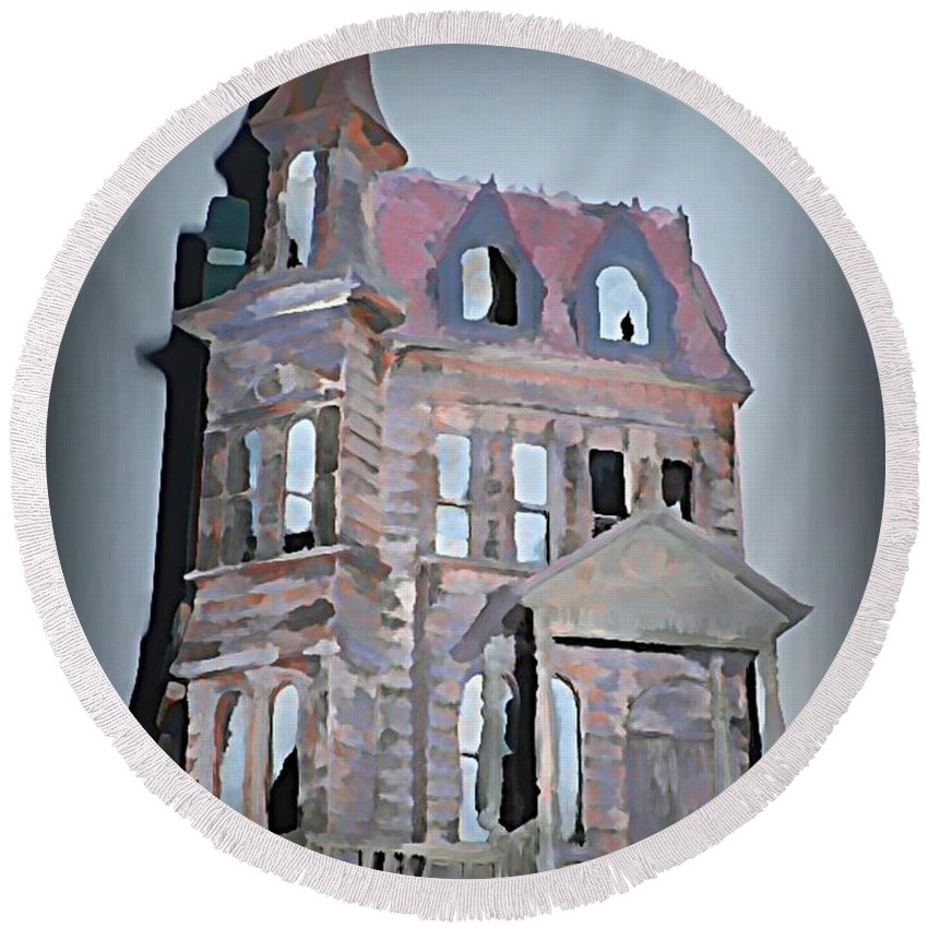 House Round Beach Towel featuring the painting Delapitated Victorian Mansion by John Malone