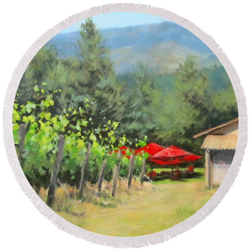 Original Round Beach Towel featuring the painting Delfino Vineyard by Karen Ilari