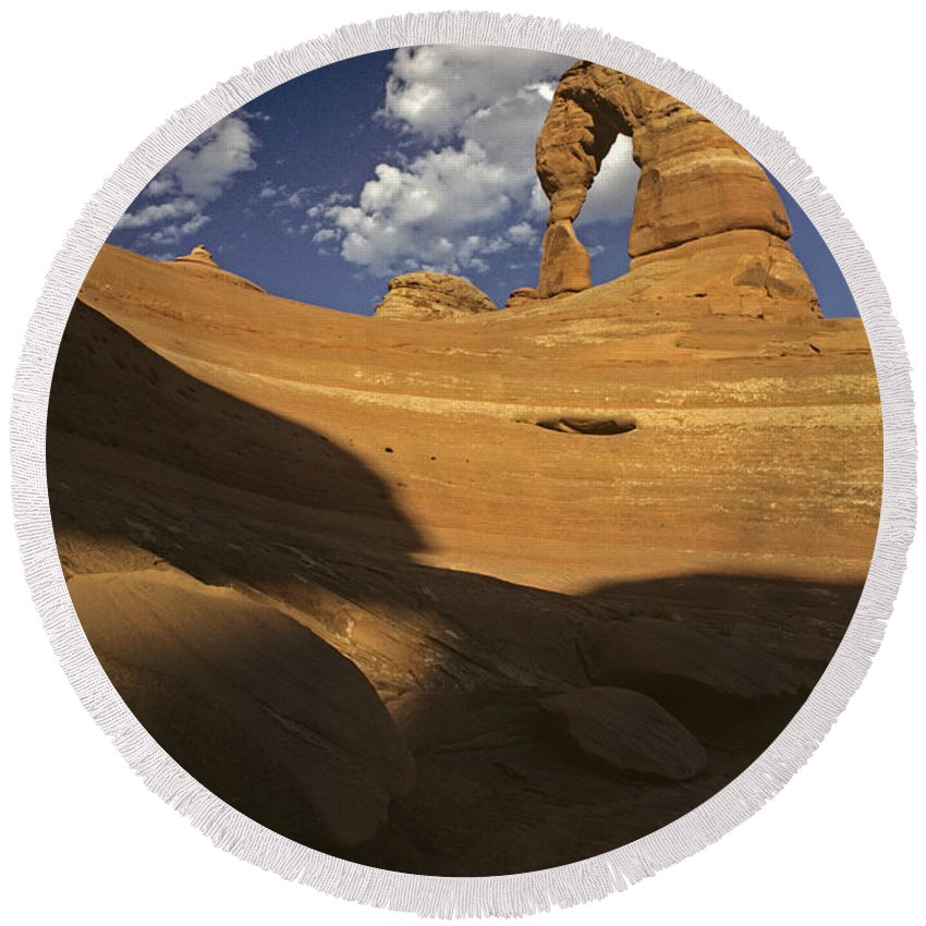 Landscape Round Beach Towel featuring the photograph Delicate Arch by Jim Corwin