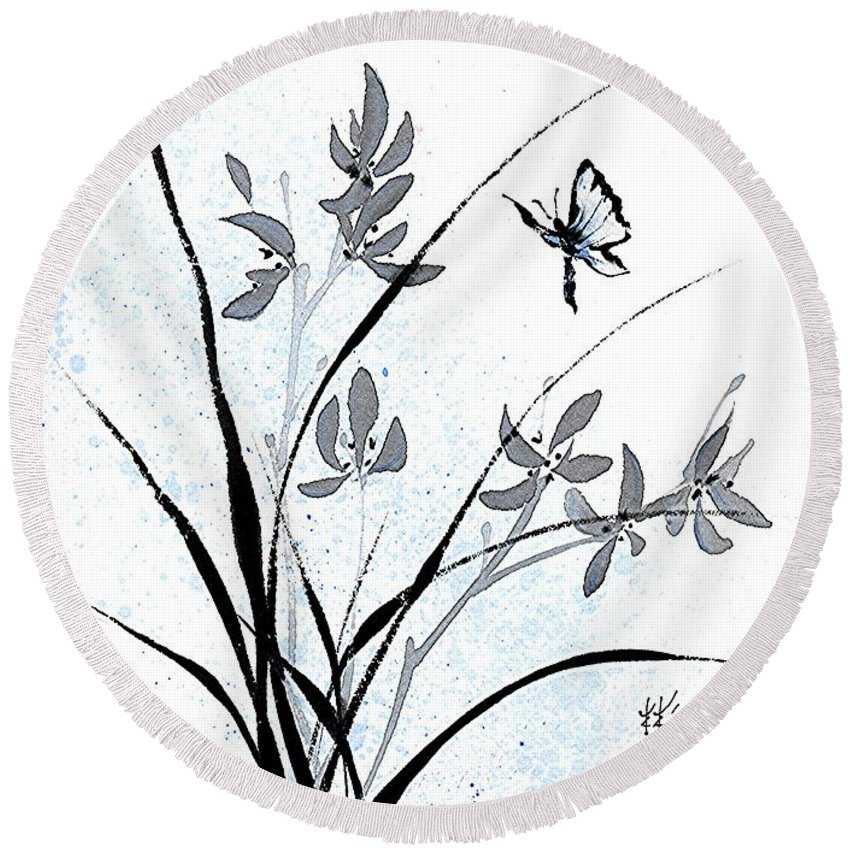 Chinese Brush Painting Round Beach Towel featuring the painting Delicate Embrace by Bill Searle