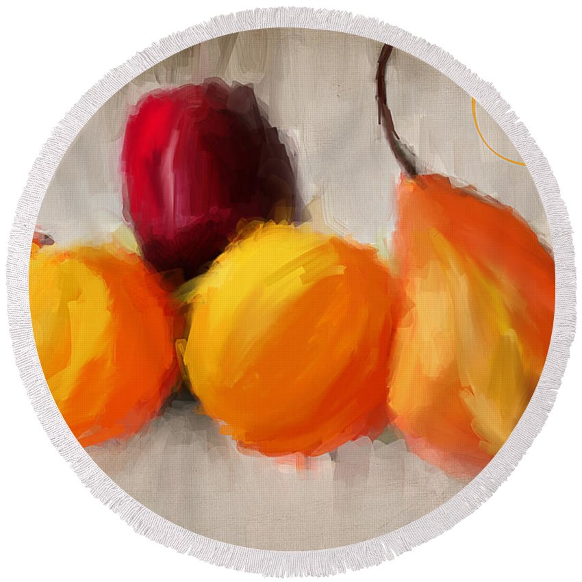 Pears Round Beach Towel featuring the painting Delight by Lourry Legarde