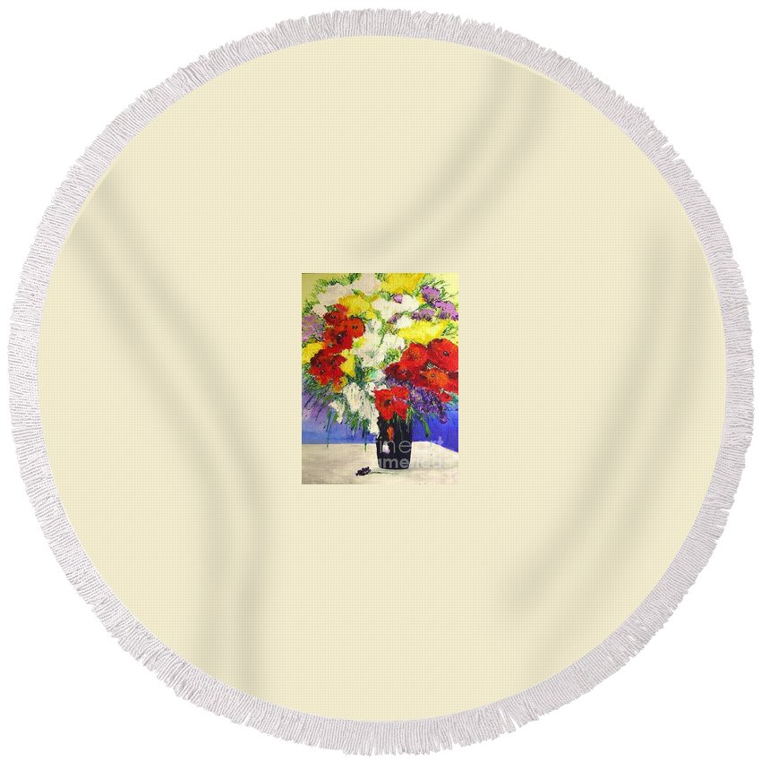 Landscape Round Beach Towel featuring the painting Delightful by Allan P Friedlander