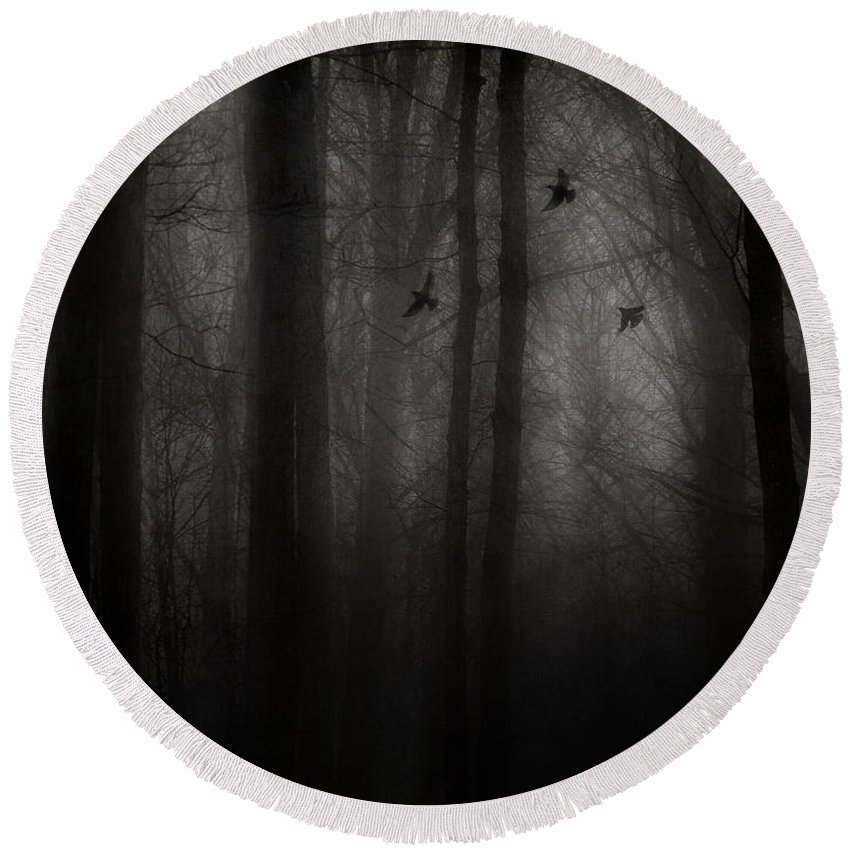 Dark Forest Round Beach Towel featuring the photograph Deliverance by Angie Rea