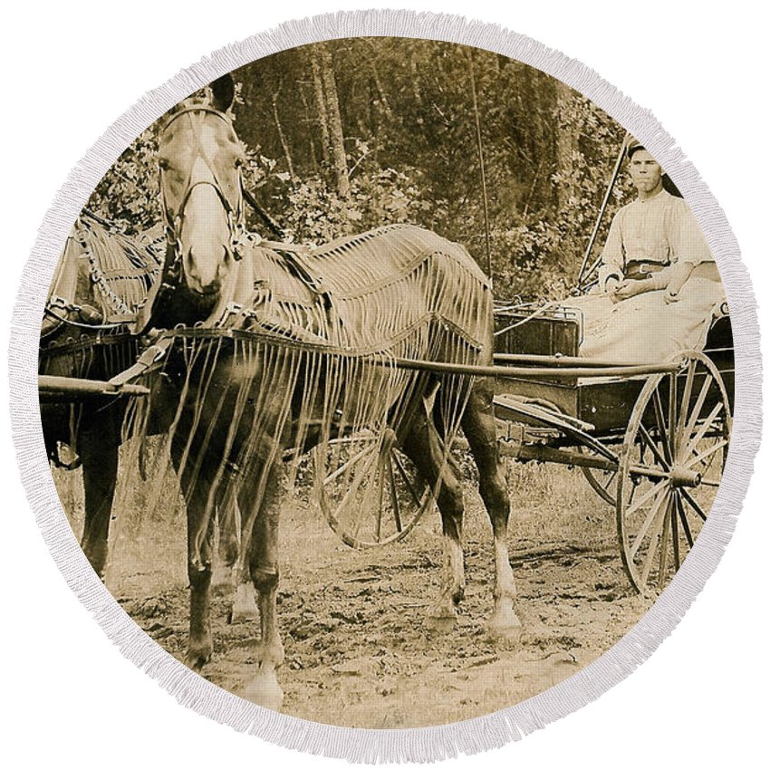 Horse Round Beach Towel featuring the photograph Delivering The Mail 1907 by Floyd Russell
