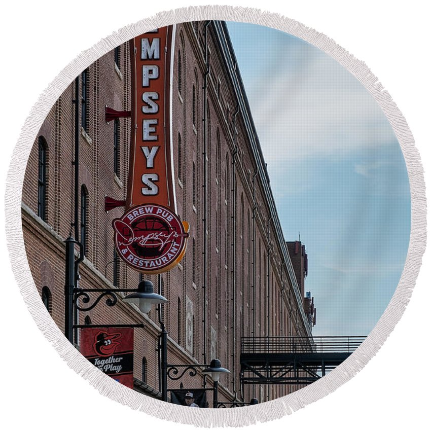 Baltimore Round Beach Towel featuring the photograph Dempseys Brew Pub by Susan Candelario